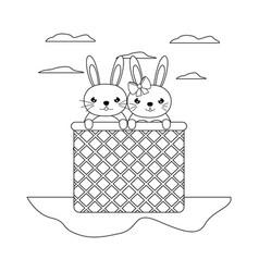 Line happy couple rabbit animal inside hamper vector