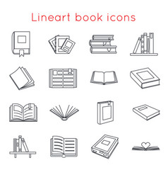 Lineart book icons symbols logos set template for vector