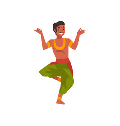 Male indian dancer in traditional clothes smiling vector