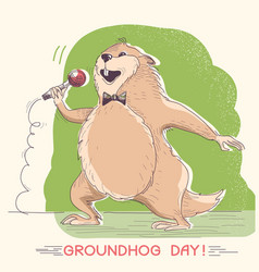 marmot singer with microphone groundhog day vector image