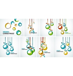 Merry Christmas modern cards - abstract baubles vector