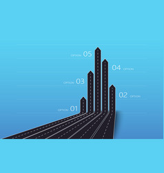 modern 3d arrow roads map business and journey vector image