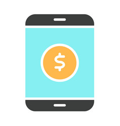 money symbol on smartphone screen icon vector image