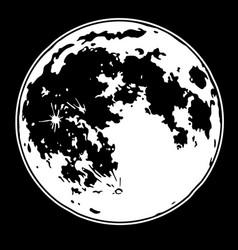 Monochrome drawing full moon vector