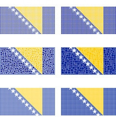 Mosaic Bosnia and Herzegovina flag set vector