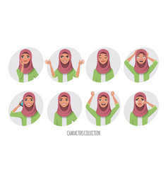 muslim young woman wearing hijab set of emotions vector image
