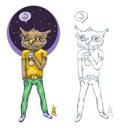 Night owl - a person who goes to bed late vector