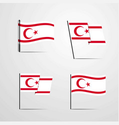 Northern cyprus waving flag set design vector