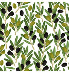 olives seamless pattern olive branches vector image