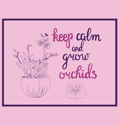 orchid flowers and calligraphy quote keep calm vector image