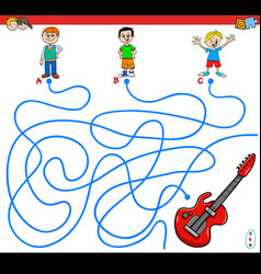 Paths maze game with boys and guitar vector