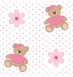 Pattern bear flower vector