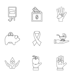 Philanthropy icons set outline style vector