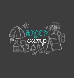 picnic design camping art line hand drawn vector image