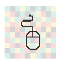 pixel computer mouse icon on square vector image