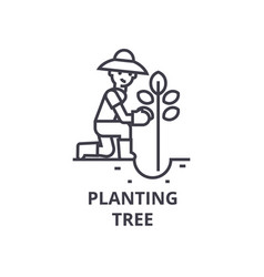 planting tree line icon outline sign linear vector image
