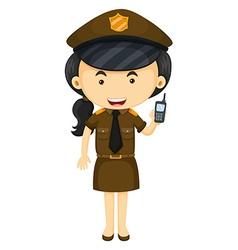 Policewoman in brown uniform vector