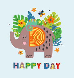 poster with happy elephant and chameleon vector image