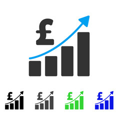Pound financial bar chart flat icon vector
