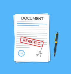 Rejected document with stamp and pen modern flat vector