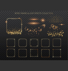 retro frames and light effects collection copper vector image