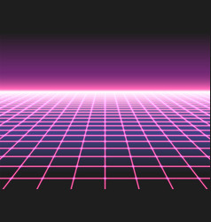 Retro futuristic neon grid background 80s design vector