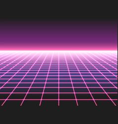 retro futuristic neon grid background 80s design vector image