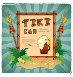 retro tiki bar sign vector image