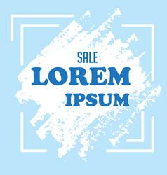 Sale lorem ipsum white paint blue background vector