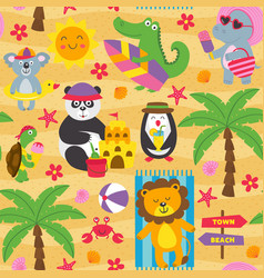 seamless pattern with animals on beach vector image