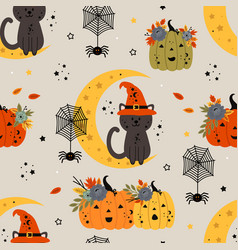 seamless pattern with cat on the moon and pumpkin vector image