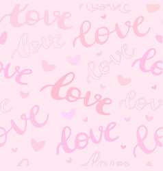 seamless pattern with word love and hearts pink vector image