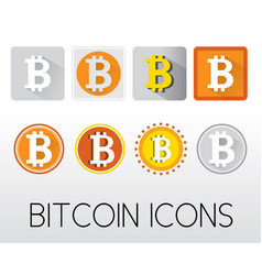 set bitcoin icons vector image