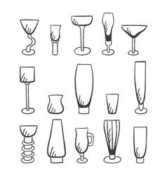 Set of doodle stemware-3 vector