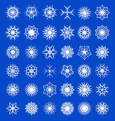 Set winter snowflakes decorations snowfall vector