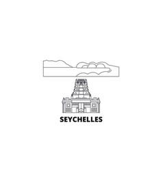 seychelles line travel skyline set seychelles vector image