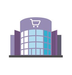 Shopping centre flat design long shadow color icon vector