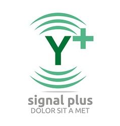 Signal letter y plus green alphabet wireless vector