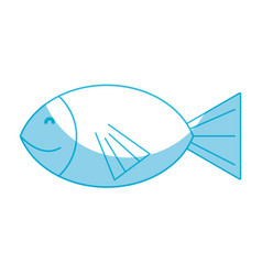 Silhouette fresh fish animal to preparation meal vector