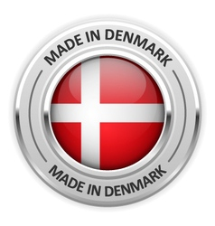 Silver medal Made in Denmark with flag vector image
