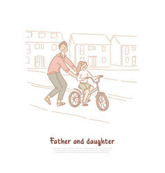 Single father dad teaching daughter ride bike vector