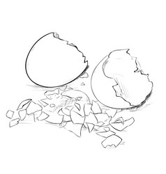 Sketch of broken eggs and eggshell vector
