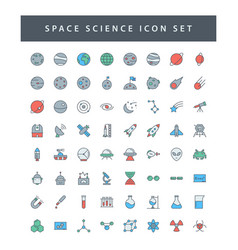 Space and science icon set with filled outline vector
