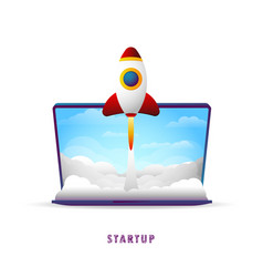 Startup the rocket takes off from the laptop vector