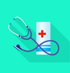 stethoscope medical bandage icon flat style vector image