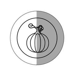 Sticker silhouette circular shape with pumpkin vector