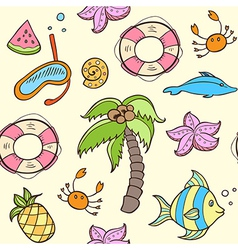 Summer seamless pattern with palm vector image