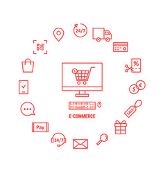Thin line red icons for e-commerce vector