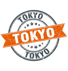 Tokyo red round grunge vintage ribbon stamp vector