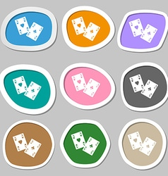 Two Aces symbols Multicolored paper stickers vector